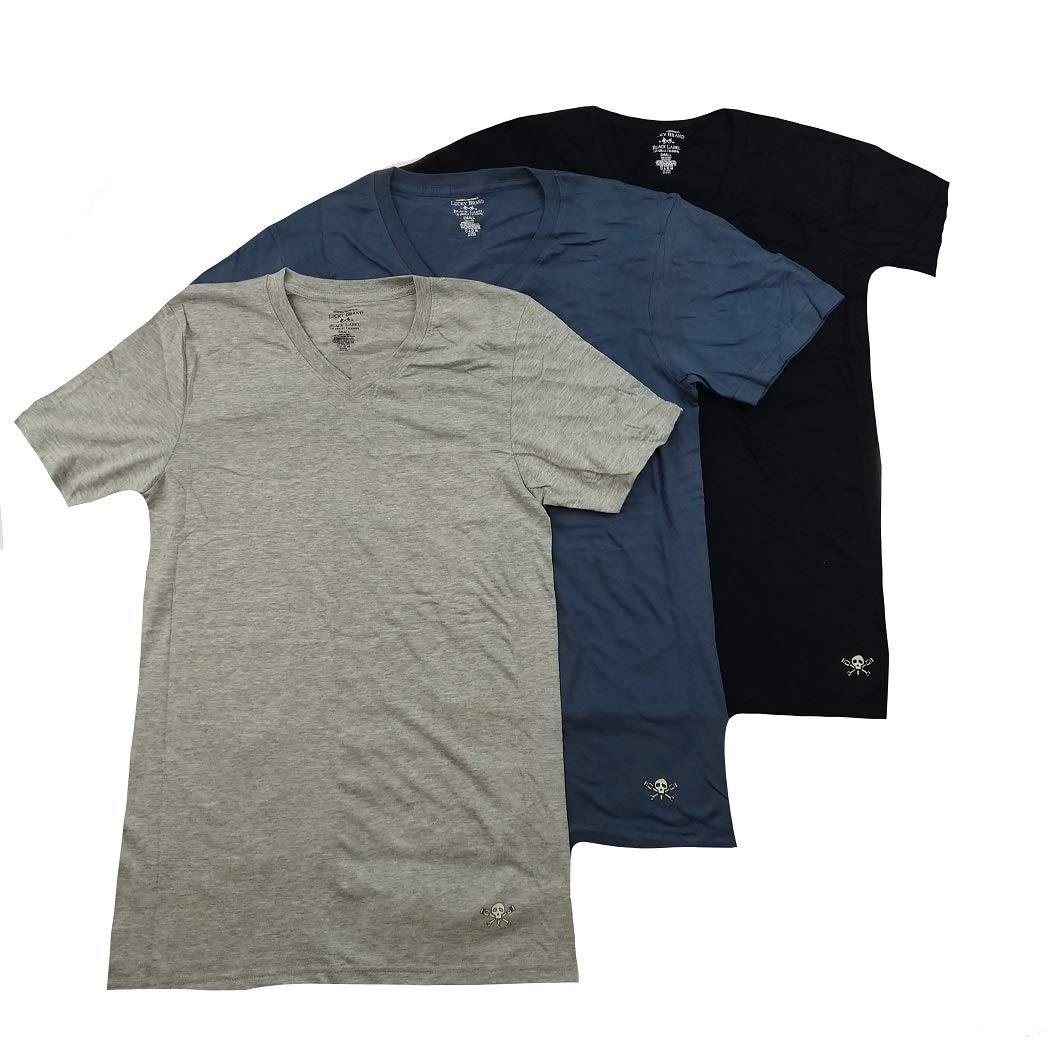 Lucky Brand Men's V-Neck T-Shirts Pack of 3 (Black Label/Blue/ Heather Grey, X-Large)