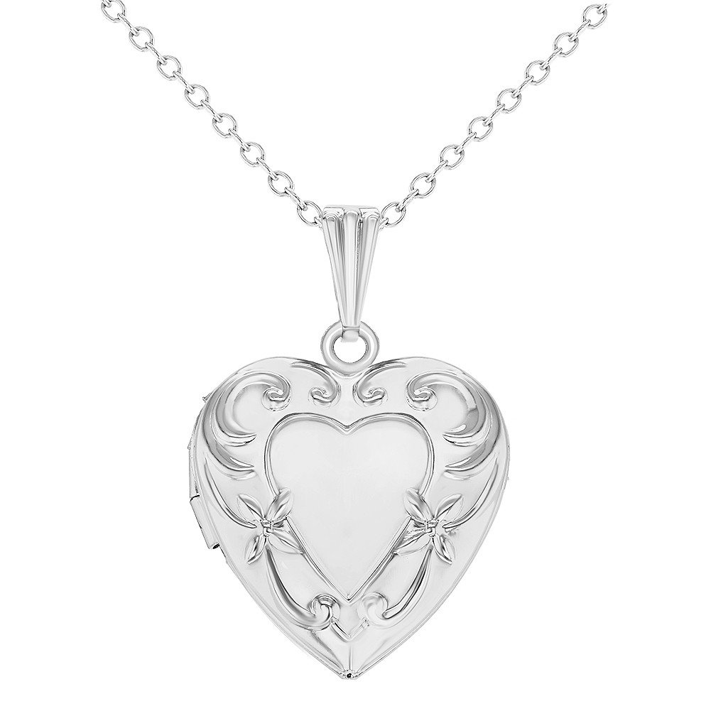 Silver Tone Memories Love Heart Photo Locket Pendant Necklace Girls Kids 16 In Season Jewelry 04-0276