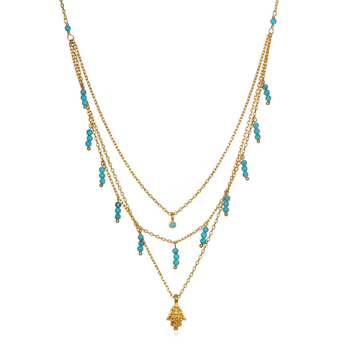 Satya Jewelry Turquoise Gold Plate Hamsa Triple Chain Pendant Necklace, 18'' by Satya Jewelry