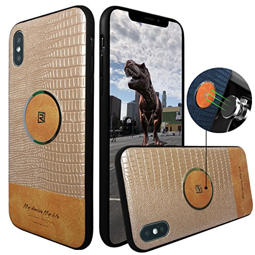 REMAX iPhone X Case,iPhone 10 Case Slim Premium PU Leather TPU Bumper PC Hard Protective Covers Back Center with Metal Ring Support Car Magnet Mount Holder Phone Case for Apple iPhone X 5.8
