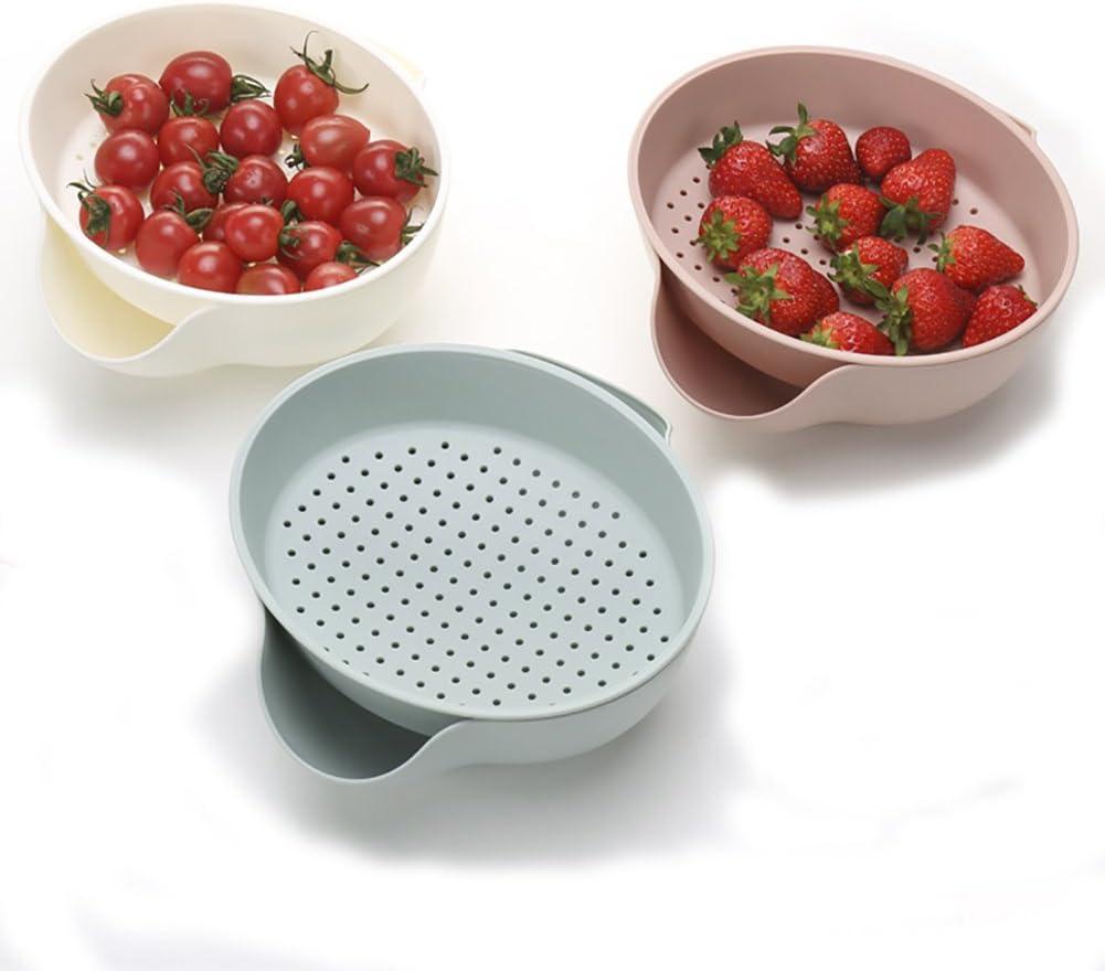 Ponny Kitchen Supplier 2 in 1 Plastic Washing Bowl Strainer Fruit Vegetable Cleaning Colanders Serving Set for Party (White)