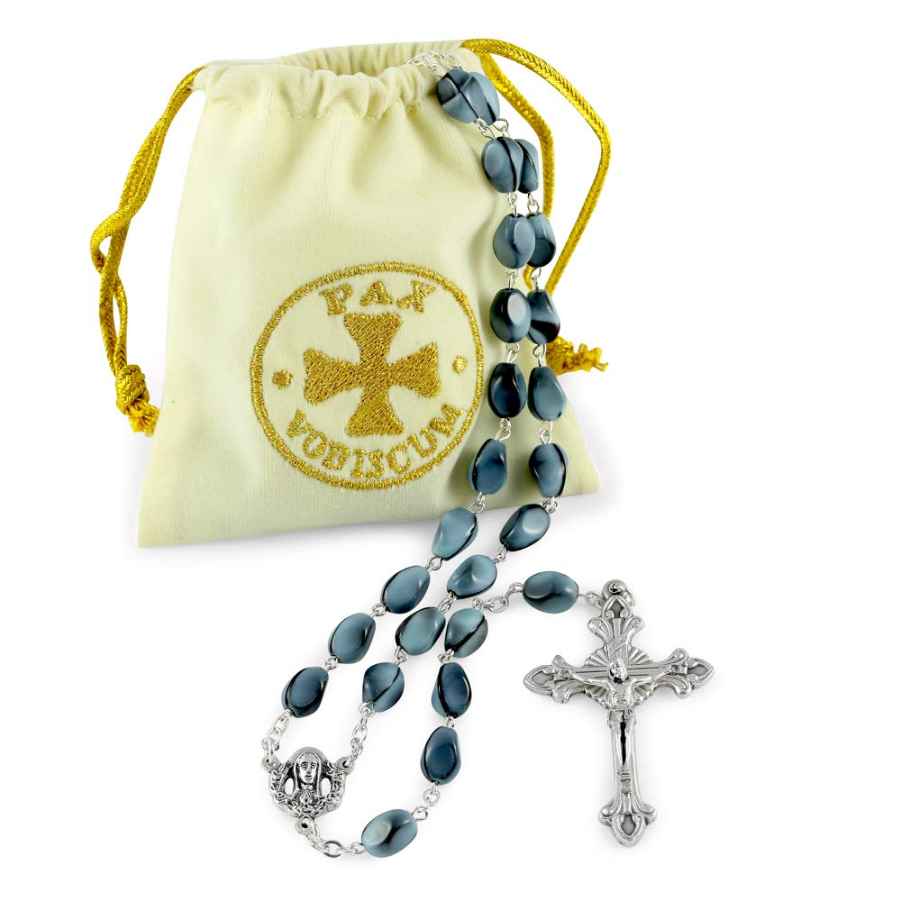 Rosary with Blue Sasso Glass Beads