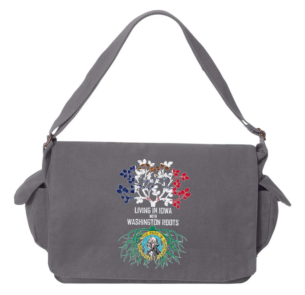Tenacitee Living In Iowa with Washington Roots Grey Brushed Canvas Messenger Bag