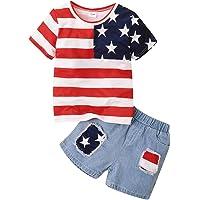Mud Kingdom Fashion Denim Little Boys Amarican Flag Shorts Set 4th of July