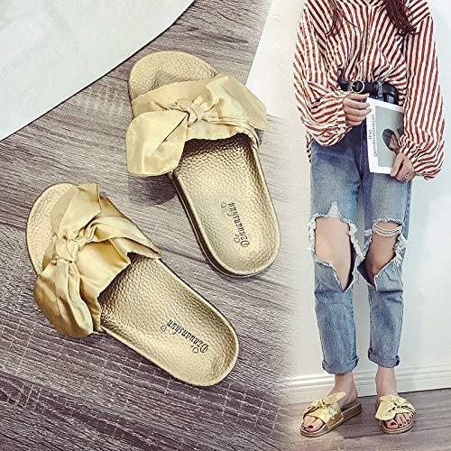 Mujer Con Plano Visten Phy Verano Shoe Zapatillas De 粉红色 Fondo Salvajes Seda Para Estudiantes Hq8qXwv