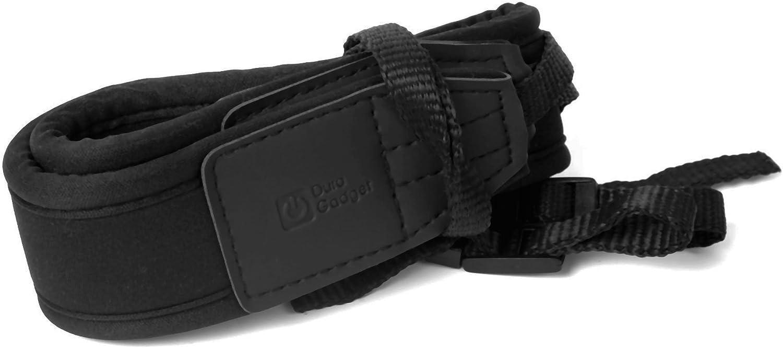 Suitable for use with The Panasonic Lumix DMC-G70 DURAGADGET Black Lightweight /& Adjustable Neck//Shoulder Strap Lumix DMC-TZ71