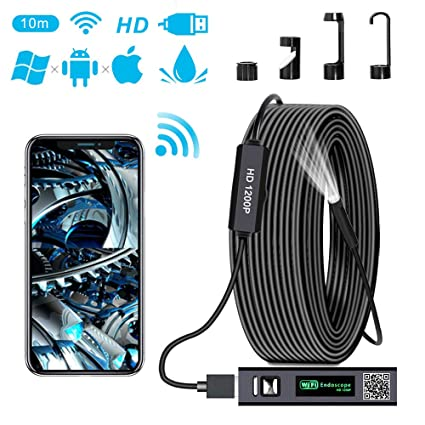 PiAEK WiFi Endoscope Camera 1200P HD Wireless Endoscope inspection  Semi-rigid Cable Borescope Compatible with Iphone