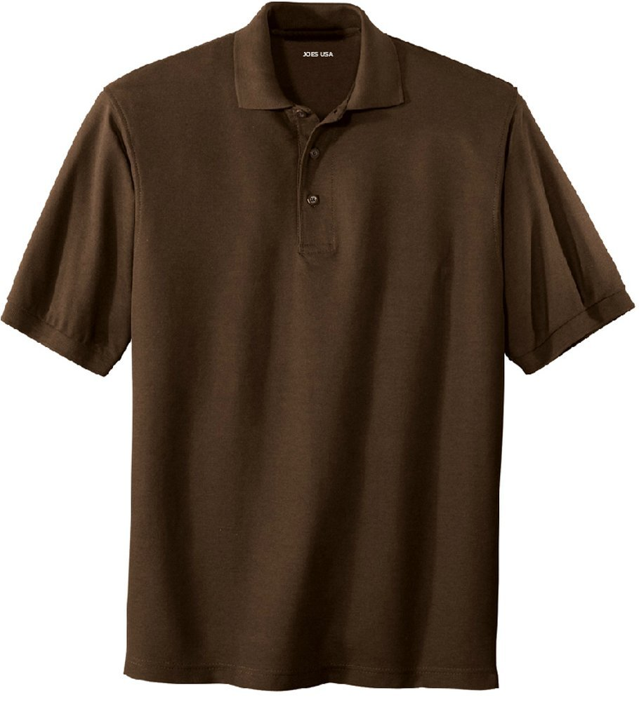 Joe's USA Men's Classic Polo Shirts - Tall X-Large XLT (44-46) - Coffee Bean