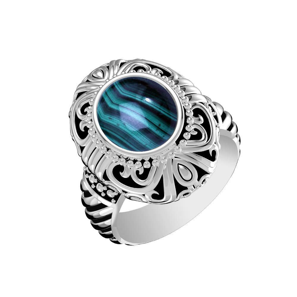 GOURIK 3.88ctw, Genuine Cabochon Malachite Oval & .925 Silver Overlay Fashion Ring Size-12