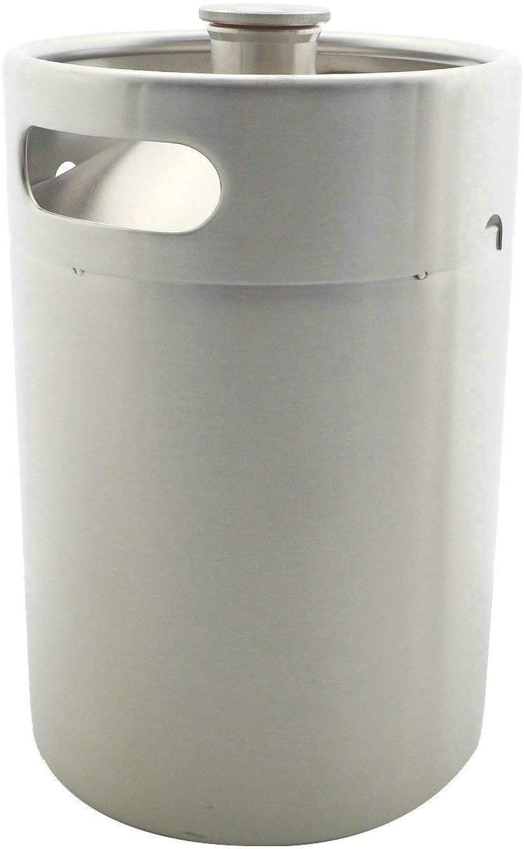 304 Stainless Stee 5L Mini Beer Keg,Pressurized Beer Growler Portable Beer Bottle Home Brewing Beer Making Tool (5L 169oz Keg)