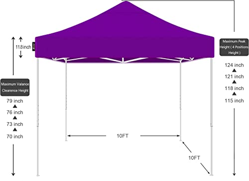 AMERICAN PHOENIX Canopy Tent 10×10 Easy Pop Up Instant Portable Event Commercial Fair Shelter Wedding Party Tent Purple, 10×10