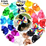 Big Bows For Baby Girls Boutique Grosgrain Rainbow Large 8'' Hair Bow Alligator Clips Barrette For Girls Teens Kids Toddlers Pack of 14