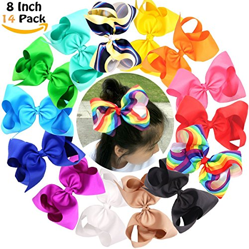 Big Bows For Baby Girls Boutique Grosgrain Rainbow Large 8'' Hair Bow Alligator Clips Barrette For Girls Teens Kids Toddlers Pack of 14 by JOYOYO
