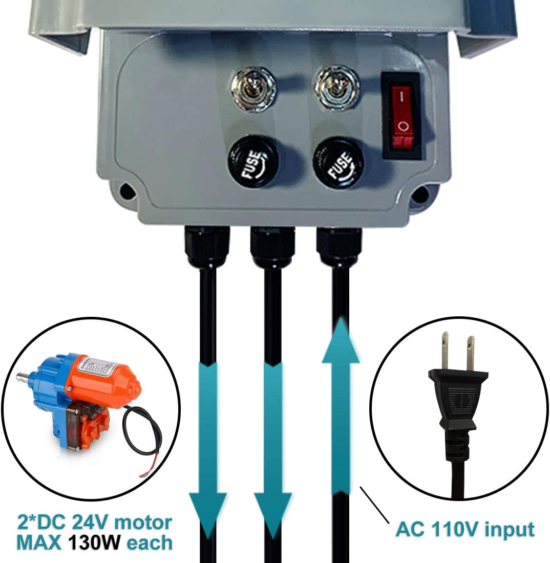 UYG Greenhouse Roll Up Motor Controller for Venting with AC110V to DC24V Transformer 3 Position Controller Forward Reverse Control 2 Motors
