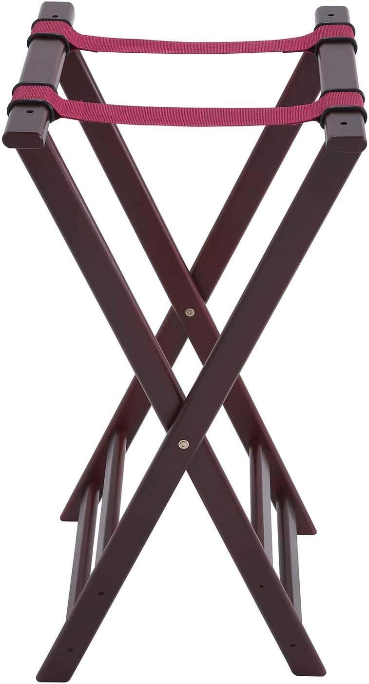 Winco TR-34WFolding Tray Stand, 34-Inch, Mahogany,Medium