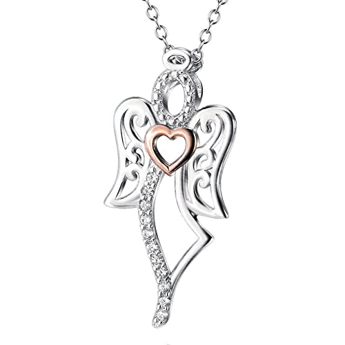 1f6c7ff0f4c426 Image Unavailable. Image not available for. Color: 925 Sterling Silver and Rose  Gold Two-Tone Angel with Heart ...