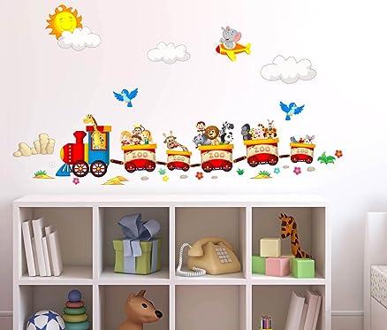 Perfect awesome adesivi murali bambini trenino con animaletti viaggiatori zoo decorazione parete - Decorazioni muro ikea ...
