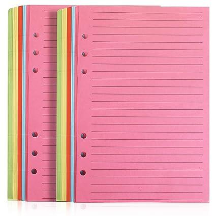 Fandamei - Bloc de notas con rayas de colores para Filofax (100 hojas, tamaño A5, 6 perforaciones de 8.23 x 5.59 pulgadas, papel de hoja suelta ...