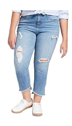 1531152f2f Universal Thread Women s Plus Size Straight Leg Comfort Stretch Destroyed  Jean - Bistro Blue - (