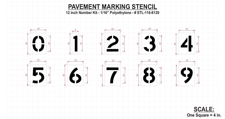 Rae Pavement Stencil, Numbers, 12'', Low Density Polyethylene, 1 EA - STL-116-8120