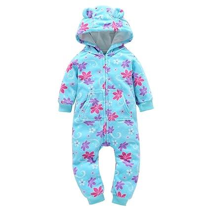 LILICAT❋ Blue Baby, Manga Larga, Pieza Gruesa con Cremallera, Vestido con Estampado