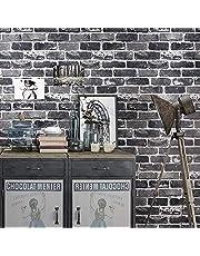 Peel and Stick Grey Brick Wallpaper