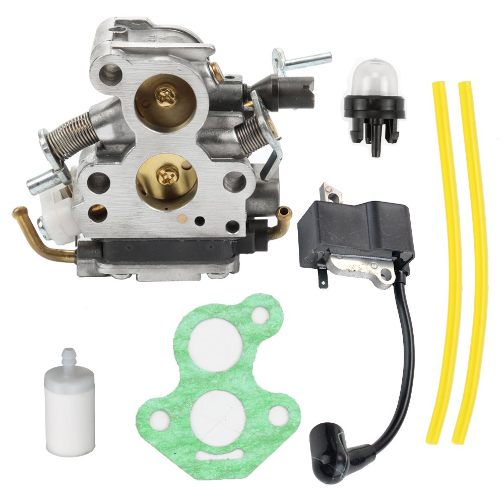 Butom C1T-EL41 Carburetor with Ignition Coil Fuel Line Filter for Husqvarna 135 140 140E 435 440 435E 440E Jonsered CS2240 CS2240S CS410 Craftsman Chainsaw 506450501 by Butom