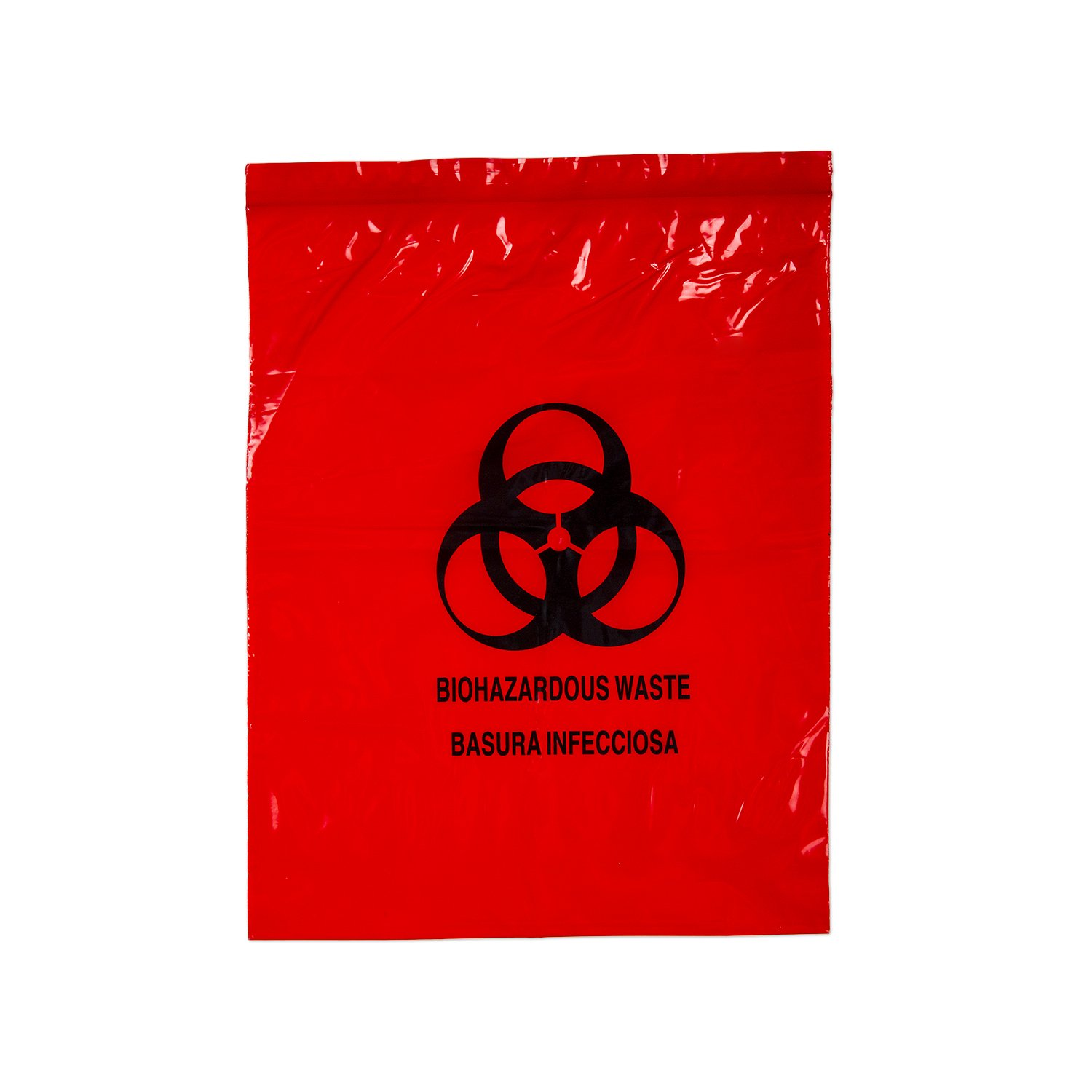 Medegen Medical Products 4921 Lab Specimen Transport Bags with Print, 12'' x 15'', 2 Mile Gauge, Red (Pack of 500)