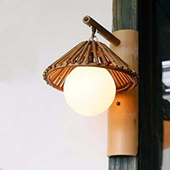 Bamboo Wall Lamp, créatif rustique mural en bambou de spot