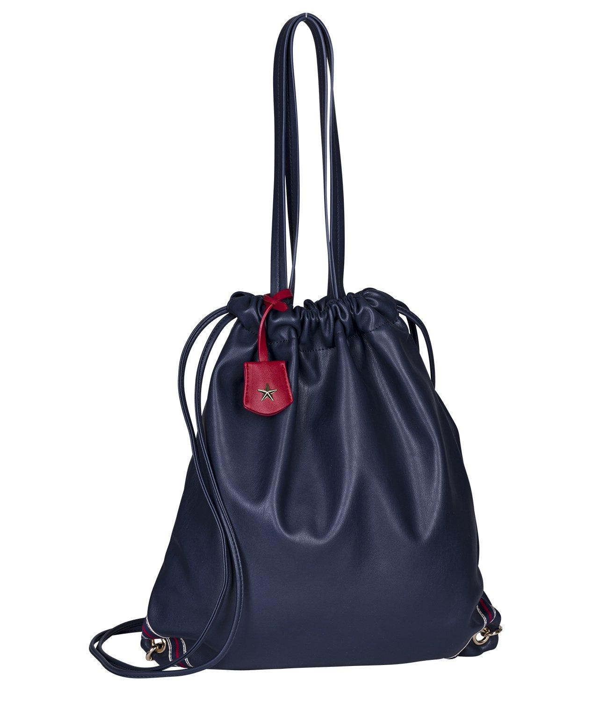 SIX Sporttasche in Leder-Optik: Damen Turnbeutel oder Shopper, fü r Sport und Freitzeit, mit Anhä nger, Innenfutter blau-Weiss gestreift, Gymb (427-949)