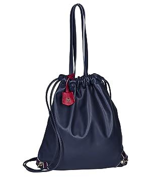 Bestseller einkaufen Wählen Sie für späteste unverwechselbarer Stil SIX Sporttasche in Leder-Optik: Damen Turnbeutel oder Shopper, für Sport  und Freitzeit, mit Anhänger, Innenfutter blau-Weiss gestreift, Gymb  (427-949)