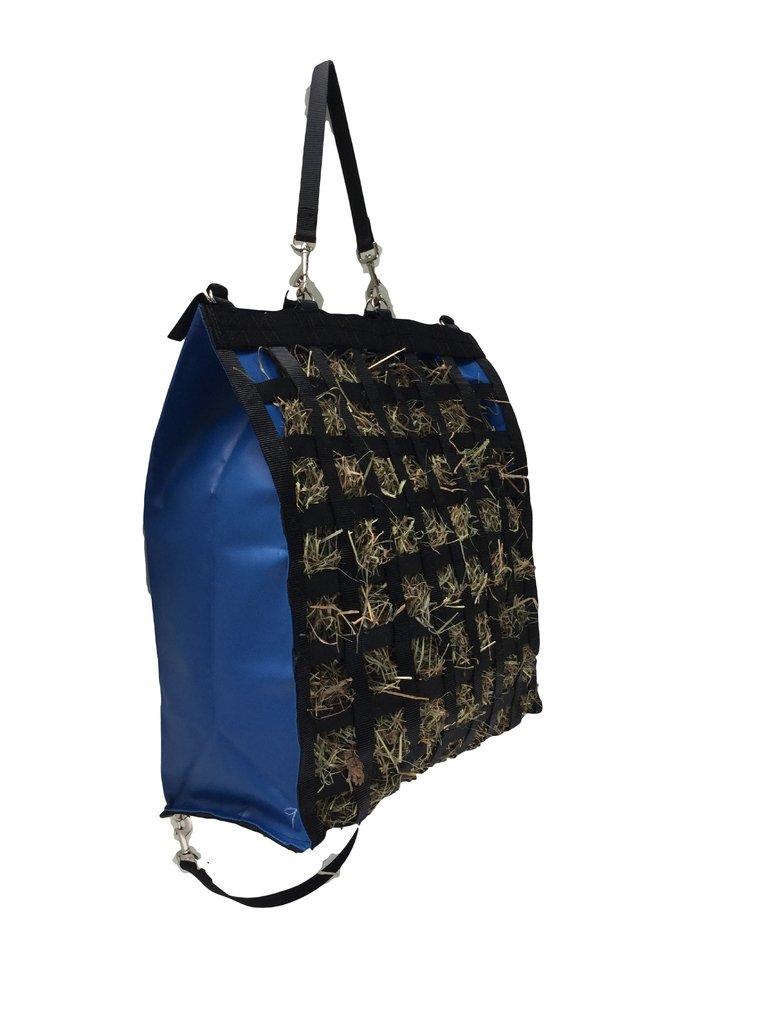 The Original NibbleNet 9'' deep w/ 2'' Slow Feed Hay Bag by Thin Air Canvas, Inc. = Blue