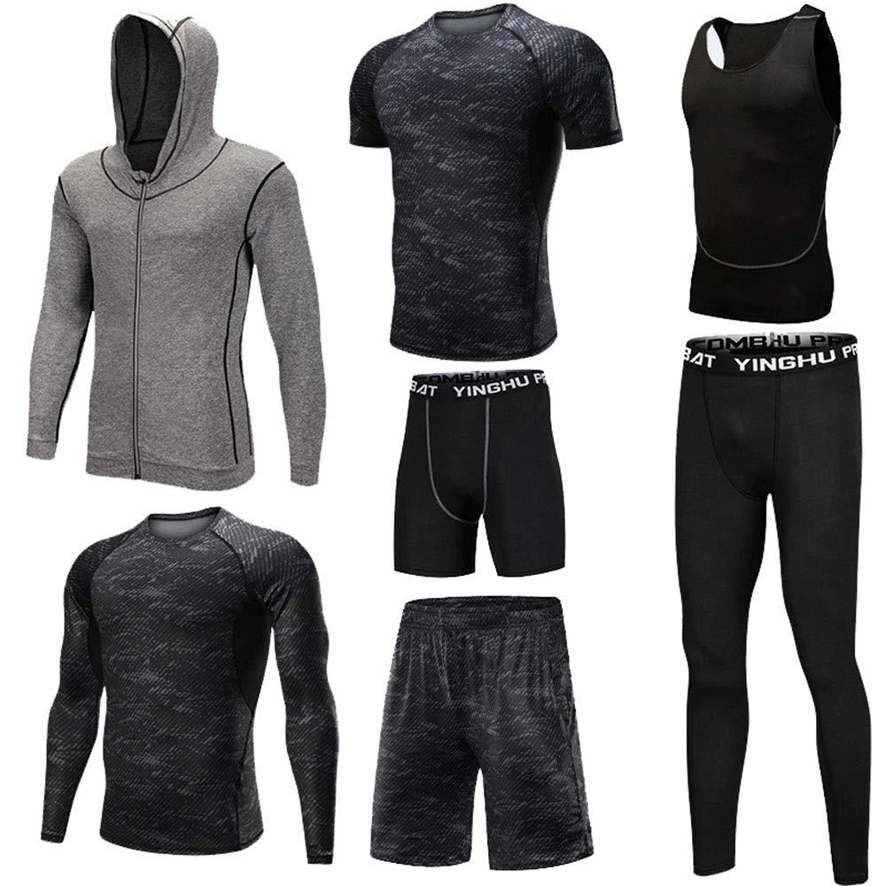 Wuxingqing Gym Wear Fitness Bekleidung Set 7-TLG. Workout-Kleidung für Herren mit Outwear, Kompressionshose, 3er-Pack Tshirt, 2er-Pack Shorts (Color : Black, Size : XXXXL)
