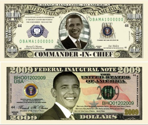 Barack Obama 44th President 2009 Double Collectors Bill Collector Set 1-One Million Dollar Bill and 1-2009 FEDERAL INAUGURAL NOTE 2009 Dollar (Barack Obama Doll)