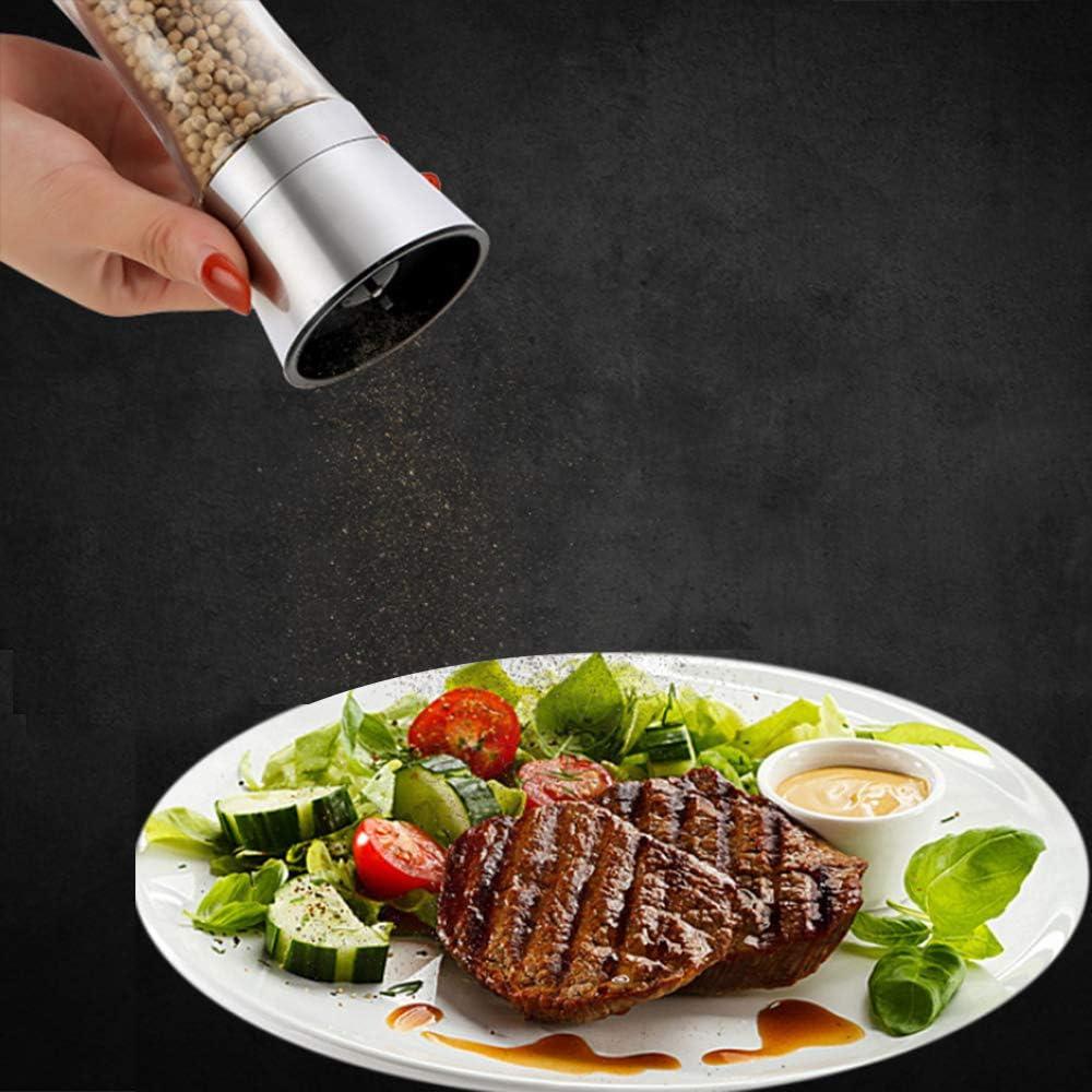 Salt Grinders or Pepper Mill Shaker Wellehomi Stainless Steel Salt or Pepper Grinder Tall Salt or Pepper Shakers with 5 Grade Adjustable Coarseness 2PACK