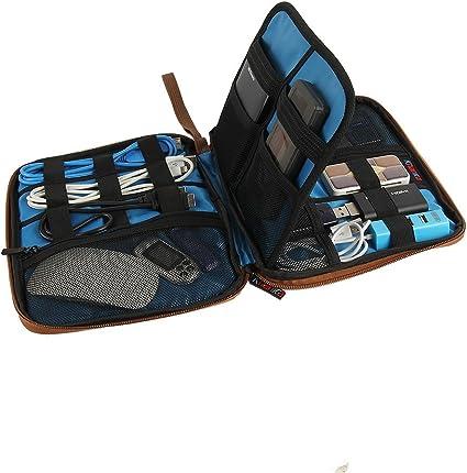 Teckone Portátil Universal Organizador Accesorios Electrónica viajes Estuche Funda para WD Elements/Samsung M3/Toshiba Disco duro/USB Cable/Batería Externa/Salud /kit de aseo personal/USB Drive shuttle/Batería Externa (Grande-Marrón): Amazon.es ...