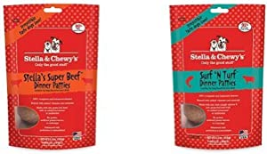 Stella & Chewy'S Freeze-Dried Raw Dinner Patties Dog Food Variety Pack Of 2 (Beef And Surf 'N Turf), 5.5 Oz. Each