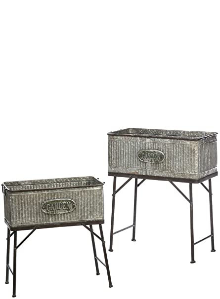 Amazon Com Wash Tub Planters On Stand Set Of 2 Garden Outdoor