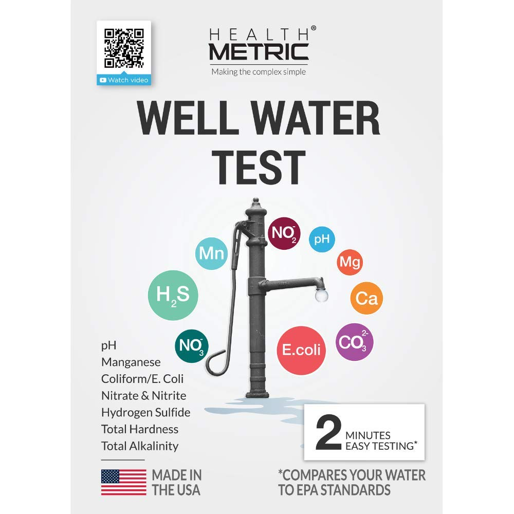 Well Water Test Kit for Drinking Water - Quick and Easy Home Water Testing Kit for Bacteria Nitrate Nitrite pH Manganese & More | Made in The USA in Line with EPA Limits [NO MAILING Required] by Health Metric