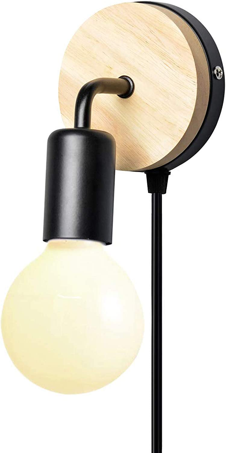 KIRIN Plug-in Wooden Wall Light Sconce with Cord E26/27 Base Contemporary Style Rotatable Fixture for Bedroom, Closet, Guest Room Hall Night Lighting Reading Lamp 1 Pack On/Off (Black)