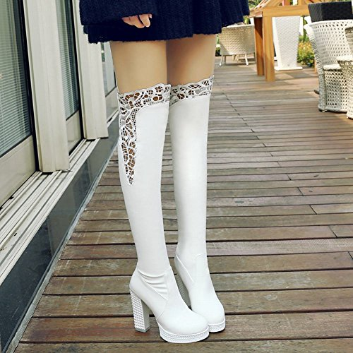 Latasa Womens Platform High Heel Over the Knee Boots White NvruwGPOp