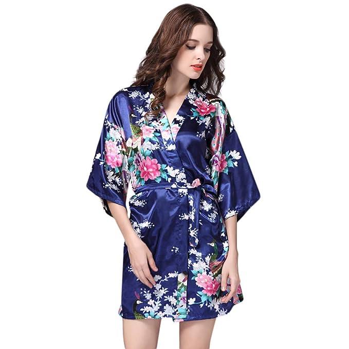 STRIR Kimono Mujer Batas Cortos Lenceria Pavo & Flores Pijama Lencería Kimono Corto de Satén de