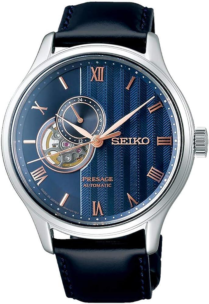Seiko Presage Japanese Zen Garden Blue 'Sakura by Night' Open Heart Automatic Sapphire Leather Watch SSA421J1