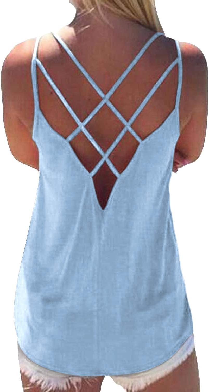 Yoins de color liso aguamarina XXL sexi con espalda cruzada Top de verano para mujer