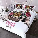 Blessliving Trendy Puppy Bedding Love Pug Rose Bed Set Sweet Valentine's Day Gift Kawaii Duvet Cover for Dog Lover (Full)
