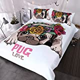 Blessliving Trendy Puppy Bedding Love Pug Rose Bed Set Sweet Valentine's Day Gift Kawaii Duvet Cover for Dog Lover (King)