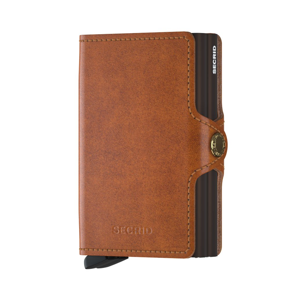 Secrid Twin Wallet Genuine Leather with RFID Protecton, Holds up to 16 Cards (Cognac)
