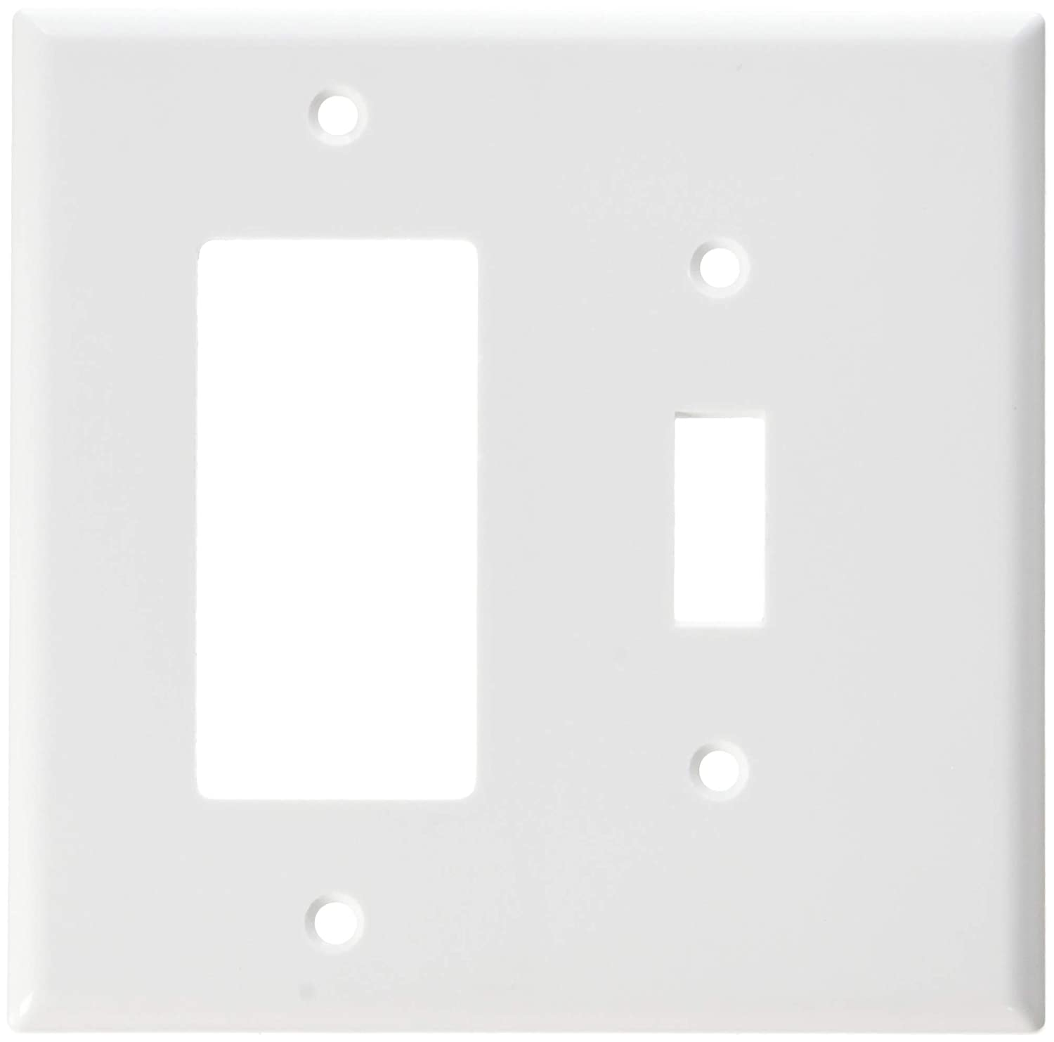Midway Size Leviton 80605-W 2-Gang 1-Toggle 1-Decora//GFCI Device Combination Wallplate 25 Pack Thermoset White Device Mount