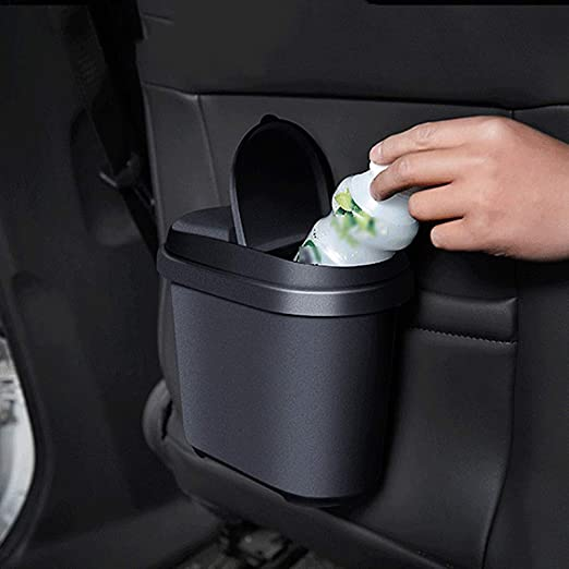 Azul Oscuro Plástico Negro Basura Papelera Cubo de basura de almacenamiento Soporte para Coche