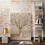 KINYNE Cute Deer Home Decor Canvas Prints With No Frame Modern Wall Art Lovely Animals Elks Watercolor Wall Paintings For Living Room Bedroom Lounge Children's Room,B,25X30cm